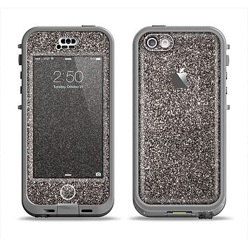 The Black Glitter Ultra Metallic Apple iPhone 5c LifeProof Nuud Case Skin Set