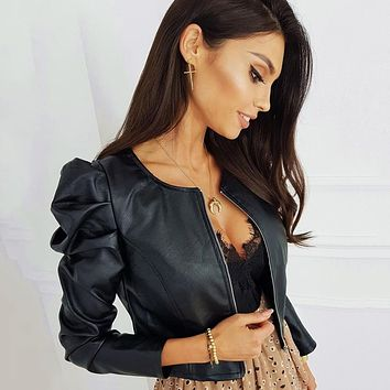 Black Faux Leather Jacket For Women Fashion Pu Leather Lady Coat Jackets With Zipper Outerwear Long Sleeve O Neck Female Top D30