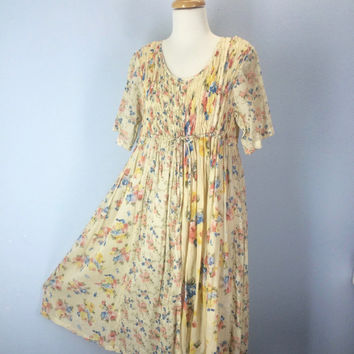 Vintage 80s Dress, Gauze Dress, Beach Dress, Slouchy Dress, 1980s Dress, Hippie Dress, Boho Dress, Sundress, Sun Dress, Floral Grunge Dress