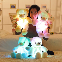 50cm Kawaii Light Up LED Inductive Teddy Bear Stuffed Animals Plush Toy Colorful Glowing Teddy Bear Christmas Gift for Kids toys