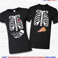 Couples Costume Skeleton BABY and PIZZA Xray Halloween T-shirt Tshirt Tee Shirt Cute Matching Set Pregnant Mom Pregnancy Ribcage TF-171-162