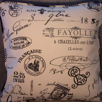 """Ivory French Script Pillow -  Striped Welting, 18"""" Square, Insert Included, Ready Ship, Document Print, Ivory w/ Black Postmarks & Ads"""