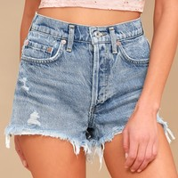 Parker Light Wash Distressed High-Waisted Shorts