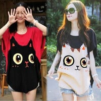 Women Loose Big Size Bat Sleeve T-shirt Cat Pattern Round Collar 17224 One size = 1930016900
