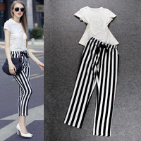 White Short sleeve Sequined  Top With Elastic Bow Vertical Stripe Crop Pants