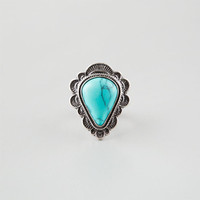 Full Tilt Turquoise Teardrop Ring Silver  In Sizes