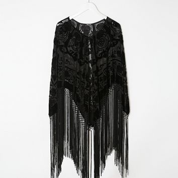 Jayley Georgia Long Fringe Silk Cape