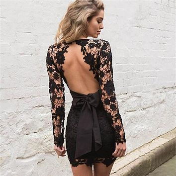 Backless Deep V neck Sexy Lace Dress Fashion Embroidery Hollow Out Long Sleeve Elegant Women Party Dresses