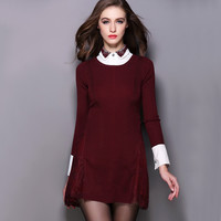 Red Sweater Dress with Embroidered Collar