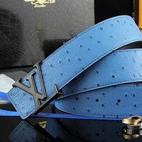 Louis Vuitton LV Letter Metal Logo Fashion Women Men Smooth Buckle Leather Belt Blue I-A-GFPDPF
