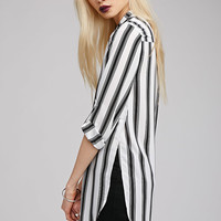 Side-Slit Striped Blouse