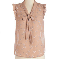 ModCloth Darling Mid-length Sleeveless That's How It Bows Top in Beige