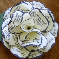 Navy and Cream Rustic Wedding Invitation Paper Rose with Personalized Print, Magnet and Individual Corrugated Mailer