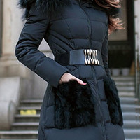 Black Fur Designed Pocket and Hood Zippered Coat