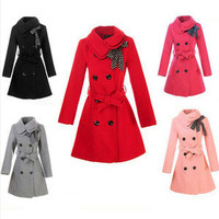 Womens Double-Breasted Long Slim Wool Trench Jacket Coat Outwear 5 Colors C12