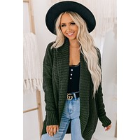 Faithful Heart Thick Open Front Cardigan (Olive)