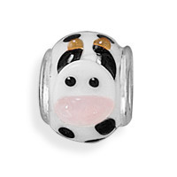 Black and White Cow Bead