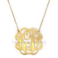24K Gold Plated over Sterling Silver Twisted Monogram Necklace