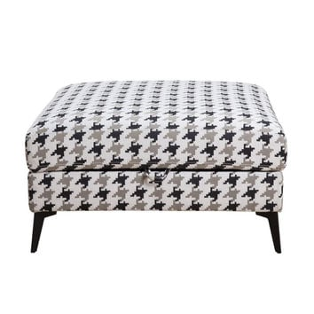 Acme 53102 Crocosmia patterned fabric square storage ottoman with tapered metal legs