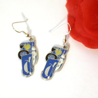 Blue Lightening McQueen Race Car Enamel Charm Earrings, Blue Race Cars, Disney Pixar Cars 2 Cartoon Character Earrings