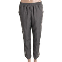 Alfred Dunner Womens Petites Textured Elastic Waist Casual Pants