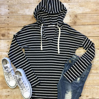 Striped Hooded Sweater: Black