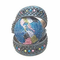 B.B. Simon Globe Python Fully Loaded Crystal Belt
