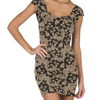 Flower Detailed Bodycon Dress - Large
