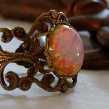 Antique Brass Vintage Glass Opal Ring by pinkingedgedesigns