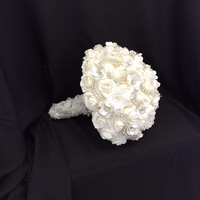 Bedazzled white bouquet for bride, Jewelry bouquet for 2nd Wedding, Sparkly Ivory bouquet with Silver rhinestones, Brooch Bouquet for Bride