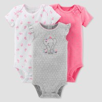 Baby Girls' 3pk Elephant Bodysuit Set - Just One You™ Made by Carter's® Gray/Pink