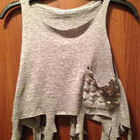 Distressed Cross Cut Out Fringed Tank with Studded by MoleekOnes