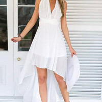 White V-neck High-low Sexy Prom Dress