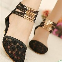 sexy lace shoes pointed shoes in Rome sandals black beige from sweetgirl
