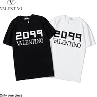 Valentino sells casual couple t-shirts stylish monogrammed print short-sleeved tops