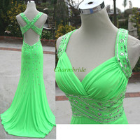Latest mint chiffon prom dresses with sequins and Rhinestone,sexy v-neck elegant evening gowns long,unique beaded dress for holiday party.
