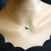 Turquoise Necklace Silver - Sterling Silver Simple Turquoise Nugget Choker - Turquoise Pendant - Turquoise Jewelry