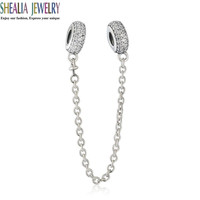 2016 Autumn Fit Pandora Bracelet Pave CZ Inspiration Spacer Safety Chain Charms Beads 925 Sterling-Silver-Jewelry DIY Shealia