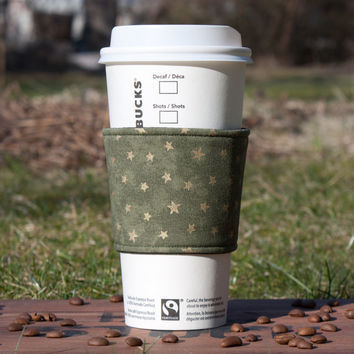 Coffee cozy - Fabric Coffee sleeve - Cup sleeve - Coffee clutch  - Hot cup jacket - Green with golden stars, Black Lining