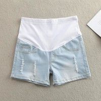 Plus Size Maternity Clothing Summer Maternity Pants Fashion Maternity Shorts Belly Pants Basic Maternity Jeans Pregnant Women