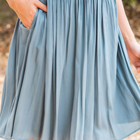 Corinne Blue Bow Midi Skirt