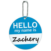 Zachery Hello My Name Is Round ID Card Luggage Tag