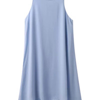 Light Blue Sleeveless Shift Mini Dress