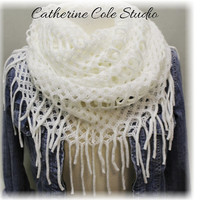 FABULOUS FRINGE in Dreamy Cream,The latest trend in womens scarves,  A must have knit fringe scarf for Fall by Catherine Cole Studio SC20