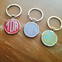 Round Monogram Keychains, Zinc alloy metal and nickel and lead free!
