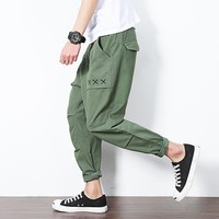 2017 summer new Japanese solid color men's fashion feet leisure trouser casual closed feet pants harem pants ankle length pants