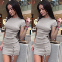 Women'S Short Sleeve Sexy Package Hip Dress