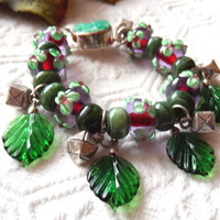 One of a Kind Lampwork Glass, Fine Silver and Jade Bracelet