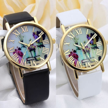 Women Fashion Vases Dial Watches With Leather Band (With Thanksgiving&Christmas Gift Box)= 1956889284