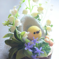Easter egg & chick decoration, miniature garden diorama, needle felted chick in egg ornament, lily of the valley flower, gift under 30